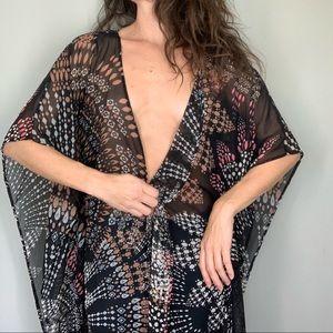LIKE NEW S Flowy Sheer Kimono or Swim Cover Up